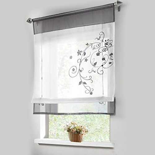 1pcs Sheer Liftable Organza Embroidered Kitchen Curtains Roman Window Shades,Grey,31x39'' (Roman Shades For Windows compare prices)