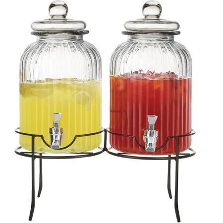 [해외]스탠드 지우기와 스타일 세터 스프링 더블 음료 디스펜서/Style Setter Springfield Double Beverage Dispenser with Stand, Clear