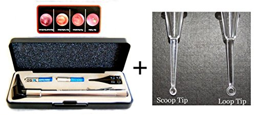 Lighted Ear Wax Curettes Plus Third Generation Dr Mom Slimline Stainless Led Pocket Otoscope In Hard Travel Case