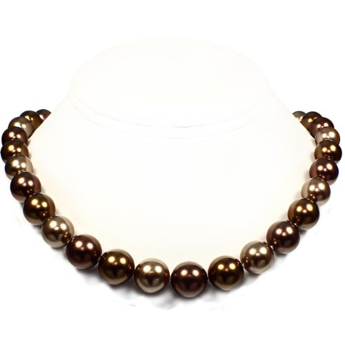 Mother of Pearl Necklace - High Polished Bronze, Antique Brass & Burgundy (12mm)