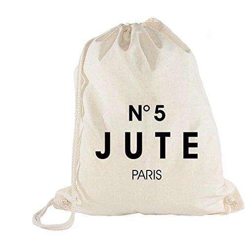 Turnbeutel - Rucksack - Schuhbeutel - PARIS NO. 5 Jute Style, White