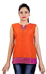 Carrel Imported Cotton Silk Fabric Sleeveless Women Solid Fancy Short Kurti/Kurta