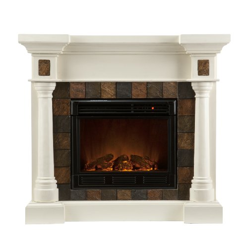 Read About SEI Carrington Faux Slate Convertible Electric Fireplace, Ivory