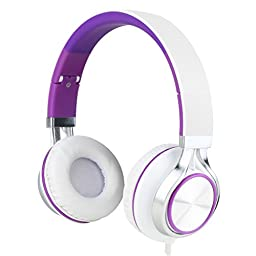 Sound Intone Ms200 Stereo Headsets Strong Low Bass Headphones Earbuds for Smartphones Mp3/4 Laptop Computers Tablet Macbook Folding Gaming Earphones (White/purple)