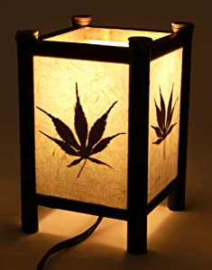 Dimmable Decorative Lamp - Square Real Japanese Maple Leaf Silhouette Shoji Lantern Design with Organic Leafs - Decorative Light / Ambiance Light / Asian Style Table Lamp / Bed Light - Small