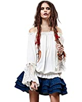 Artka Women's Spring Ethnic Stretchy Boat Neck Lace Cuff Loose Blouse SA14450C