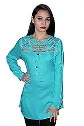 Cherry Clothing Women's Top (CRT1025 L_Aqua Green_Large)