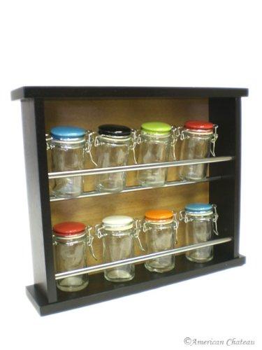 Dark wood wooden kitchen wall mount spice rack spice racks for kitchen - Wall mounted spice racks for kitchen ...