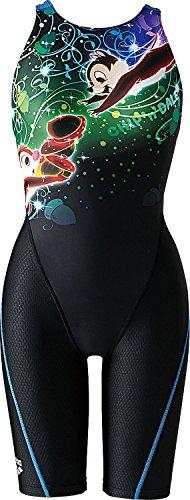 arena(アリーナ) レディース ディズニー 練習用水着 セイフリーバックスパッツ (着やストラップ) アクアトレーニング ブラック×ブルー DIS-6306W BKBU Sサイズ
