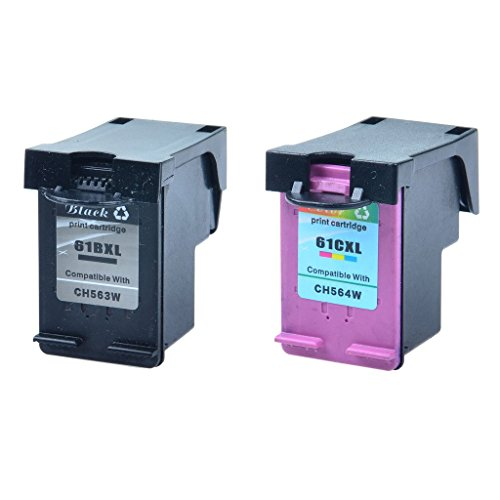 GREENCYCLE Hight Yield Ink Cartridge Combo For HP 61XL CH563W H564W Black and Tri-color Set - Black,1 Pack and Color,1 Pack (Replacement Cartridge For Hp 61xl compare prices)