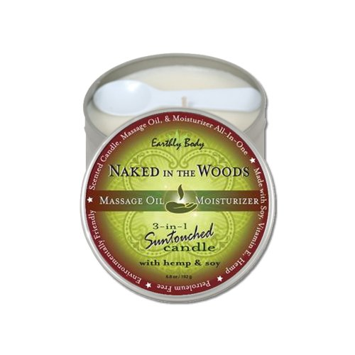 Earthly Body Suntouched 3-in-1 Soy Massage Candle with Hemp - 6.8oz Tin (Naked in the Woods)