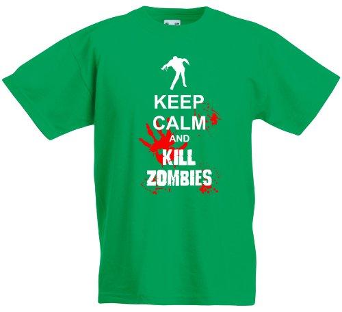 Maglietta per bambini, Keep Calm And kill zombies Multicolore Kelly verde/bianco