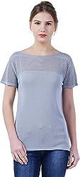 TSAVO Women's Regular Fit Top (1239_GREY, Grey, Small)