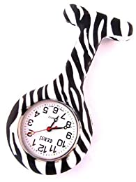 Nurse Silicone Tunic Watch Brooch Fob in Zebra Print With One Extra Battery