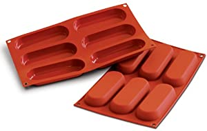 "Flexible Silicone Bakeware, Lady Finger (Sponge Finger) 2.8 Oz, 5"" x 1.8"" x .7"" High, 6 Cavities"