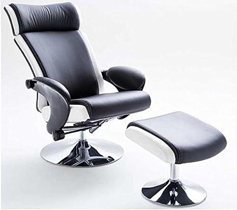 Relaxsessel, Bente, modernes Design, Leder, manuell verstellbar, 110 kg, schwarz-weiß
