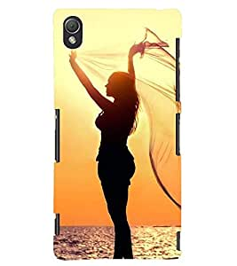 Printvisa Vector Girl pic On A Beach Back Case Cover for Sony Xperia Z3::Sony Xperia Z3 D6653 D6603