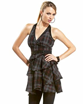 bebe.com : V Neck Plaid Wrap Dress :  v neck plaid wrap dress v com neck