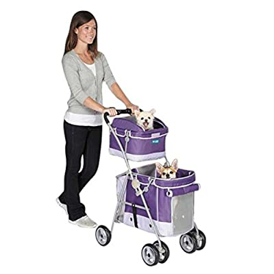 Guardian Gear Double Decker Pet Stroller for Dogs and Cats, Grape