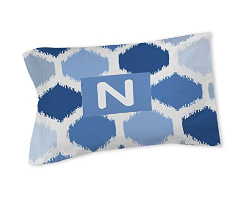 Thumbprintz Pillow Sham, Standard, Monogrammed Letter N, Blue Batik front-329080
