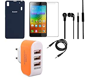 NIROSHA Tempered Glass Screen Guard Cover Case Headphone Charger for Lenovo K3 Note - Combo