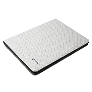For the New Ipad 3 Pu Leather Knit Pattern Stand Smart Folio Cover White