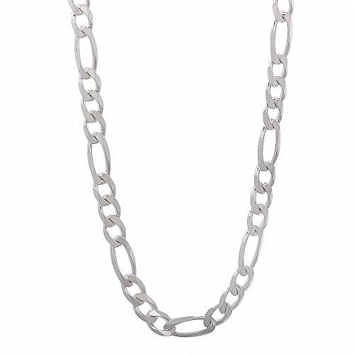The Bling Factory - Collana a catena con maglia Figaro, in vero argento Sterling 925, da uomo, spessore: 4,5 mm, Argento, colore: argento, cod. CN1027_20