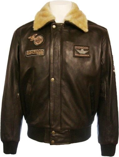 Mens 100% Real Leather Jacket Pilot Brown Hide:N4 (Medium)