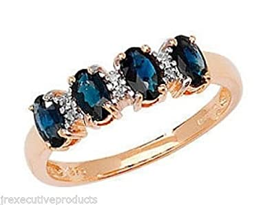 9ct Gold Real Sapphire Four Ovals & Diamond Ring (available in sizes J - T )