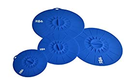 Premium Lily Pad Silicone Lid 4pc Set - 284 LIVING TM - Suction Lids Food Saver Container Covers - (Set of 4 sizes. Small 6\