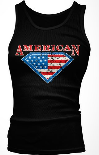 American Flag Diamond Design Juniors Tank Top, United States Pride Juniors Boy Beater, Large, Black
