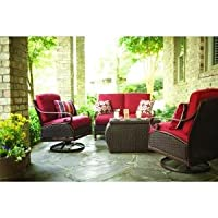 Patio Furniture Outdoor Lawn & Garden Martha Stewart Living Cedar Island All Weather Wicker 4 Pc With Dragon Fruit Cushions Red from PATIO FURNITURE