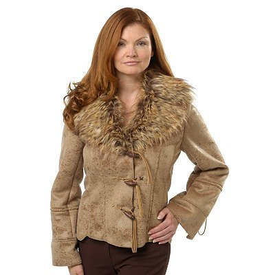 Buy Pamela McCoy Toggle Closure Leather Detail Faux Shearling Coat