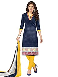 Kanchnar Women's Navy Blue and Yellow Mix Cotton Printed Casual Wear Dress Material,Diwali Great Indian Festival sale Traditional Clothing for Girls,Navratri Special Collection,Gift to Wife,Mom