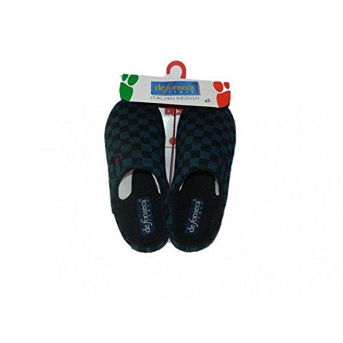 DE FONSECA Pantofole ciabatte scendiletto panno blu scacchi fondo in gomma (42)