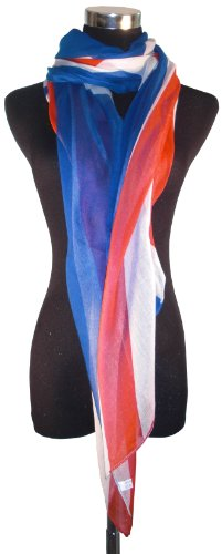 Large Red, White & Blue Traditional Union Jack Chiffon Scarf or Sarong