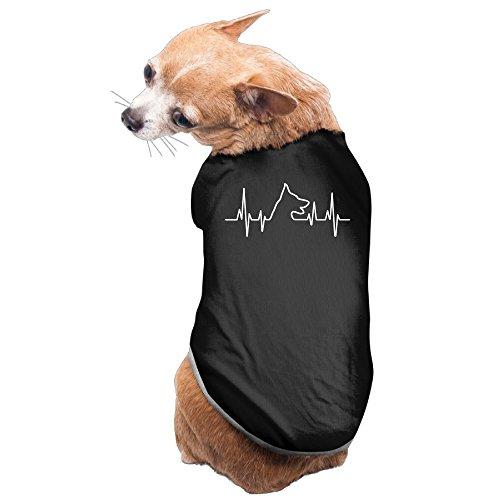 DH&GF German Shepherd Heartbeat Dog Jackets Costumes New Pajamas Black