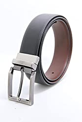 The Clownfish Men's Leather Reversible Black & Brown Belt (TCFTLBFZ 3)