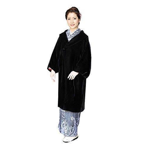 (アゲハラベルベット) AGEHARA VELVET 日本製 和装コート レディース へちま衿 ベルベット生地 10 (L, ブラック)