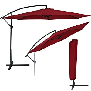 tectake aluminium cantilever parasol winered 3 5 m. Black Bedroom Furniture Sets. Home Design Ideas