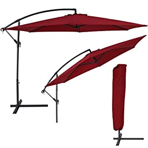 TecTake Parasol excentré hexagonale bordeaux + uv protection 3,50m ALUMINIUM + housse de protection