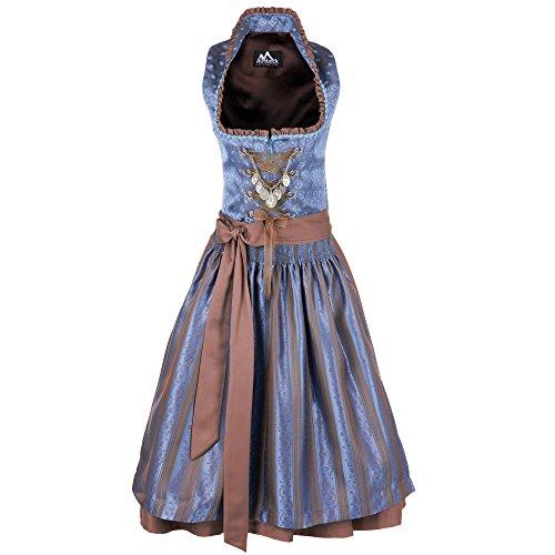 Almbock Damen Dirndl Midi, 2er-Set (knielanges Dirndl-Kleid mit Corsage und Dirndl-Schürze), grün, pink, schwarz, rot, braun, lila, türkis, rosa, blau thumbnail