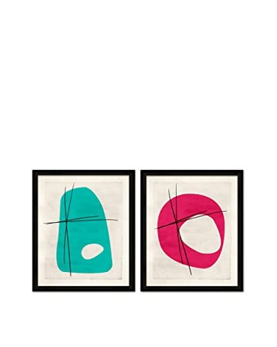 Soicher Marin Set of 2 Classy Retro Mod Giclée Reproductions, Turquoise/Pink