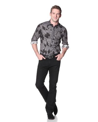 Byblos Men's Boster Slim Shirt  [Black/Charcoal]