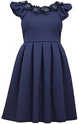 Bonnie Jean Big Girl's Navy Knit Rosette Dress