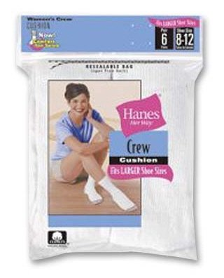 Buy Womens Hanes 6 Pair Cotton Crew Socks White 10-12 – 683/6P