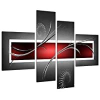 Large Red Black Grey Abstract Canvas Pictures 130cm XL Wall Art 4091 by Wallfillers Canvas