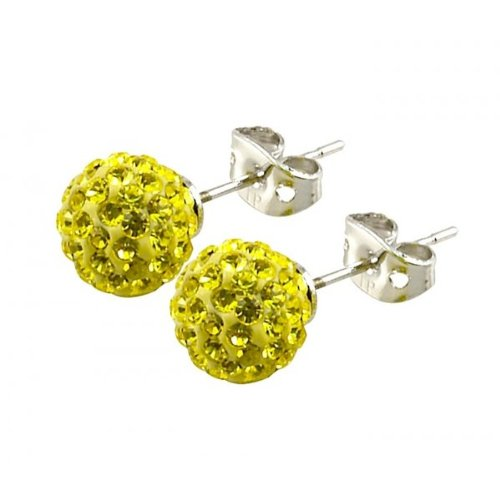 Tresor Paris 'Clecy' Yellow Crystal Earrings, 8mm