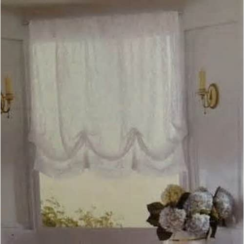 "... White Lace Balloon Shde Window Curtain 63"" - Window Treatment Curtains"