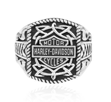 Harley Davidson size 12 sterling Men's ring TRIBAL Signet Bar & Shield band MOD HDR0238